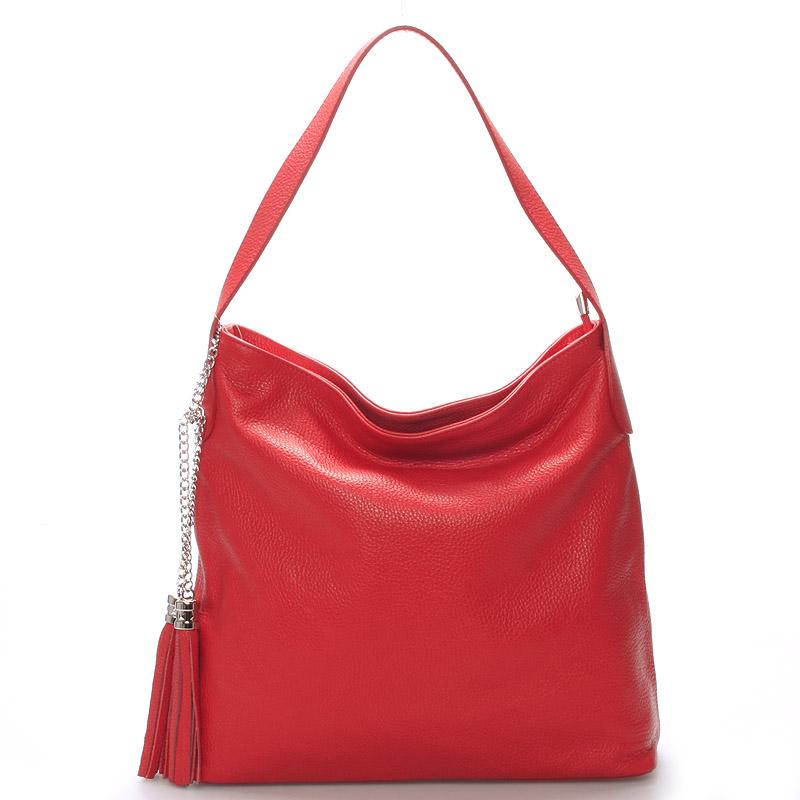 Módní kožená kabelka přes rameno červená - ItalY Georgine