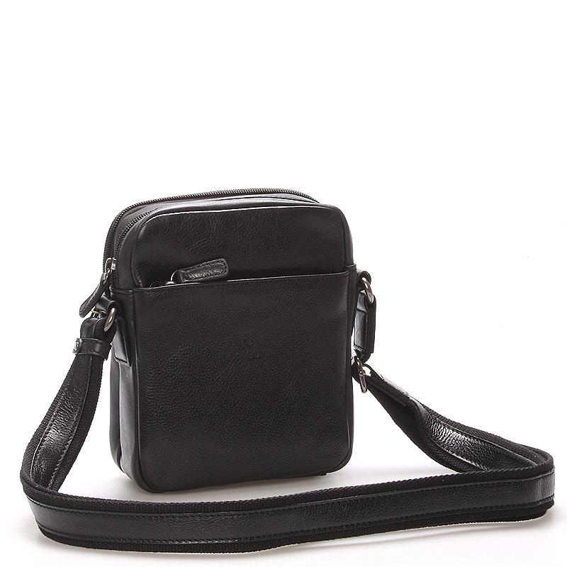 Černá luxusní kožená taška na doklady Hexagona 129477