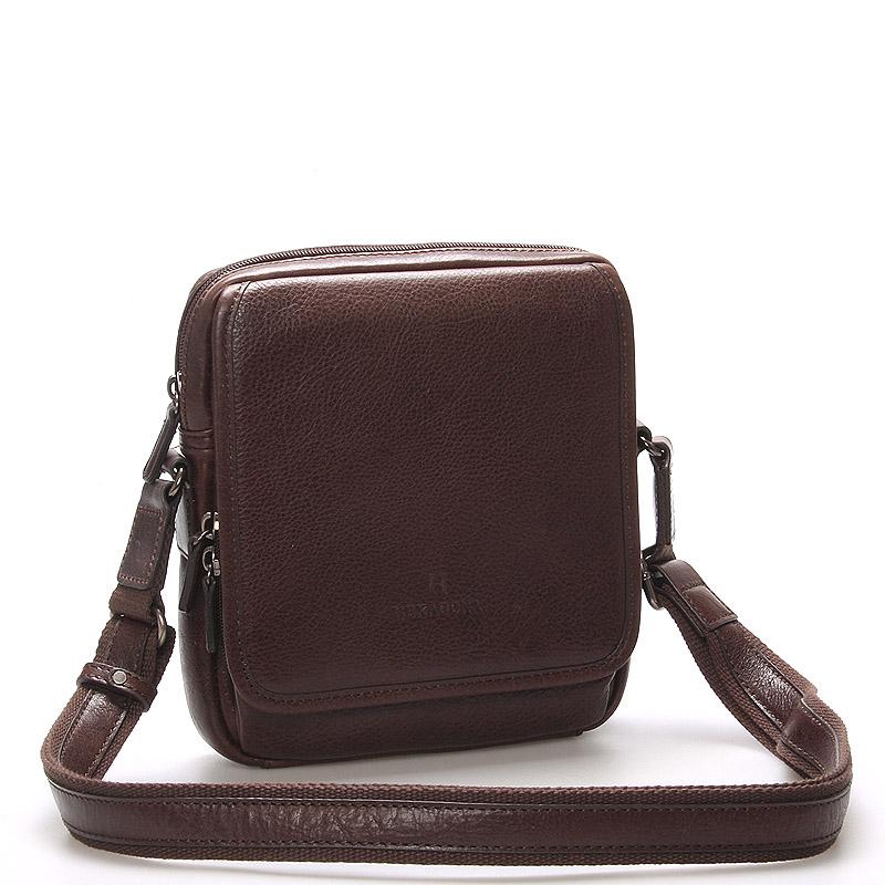 Luxusní hnědá kožená taška přes rameno Hexagona 129898