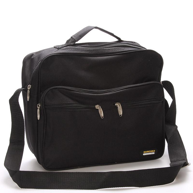 Pánská látková taška přes rameno černá - Sanchez Vincenzo