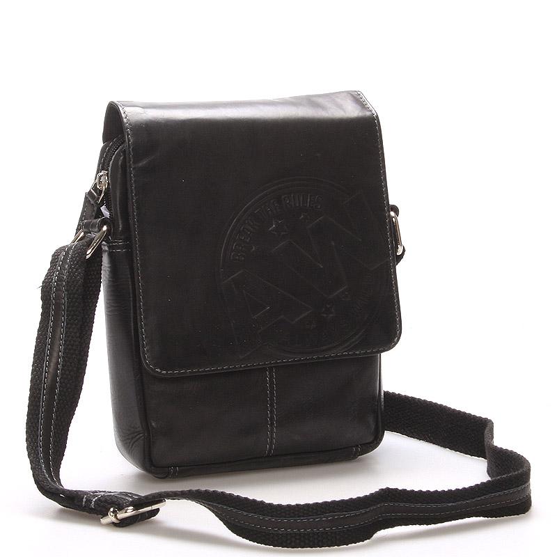 Pánská kožená taška na doklady černá - WILD Connor