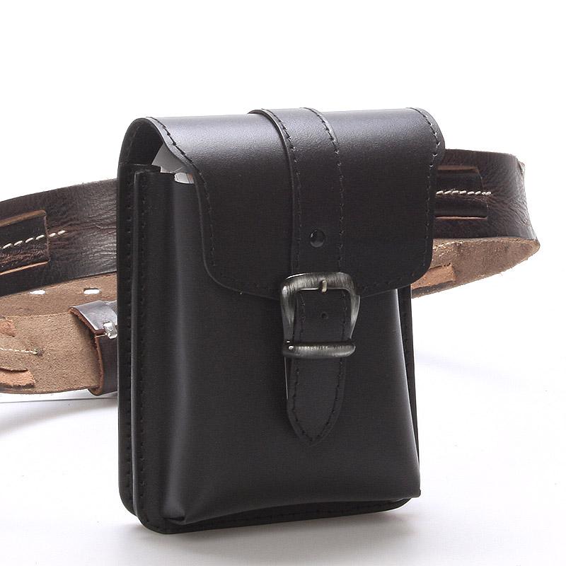 Pánská černá kožená kapsa na opasek - Greisi Gerr