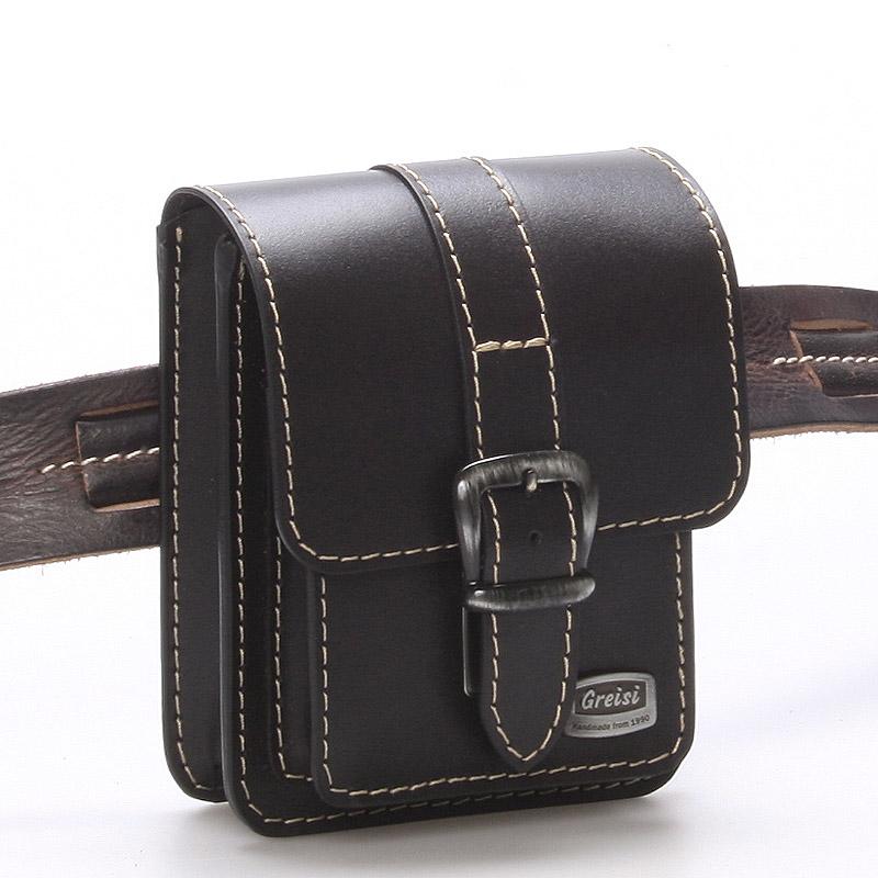 Pánská černá kožená kapsa na opasek - Greisi Gali