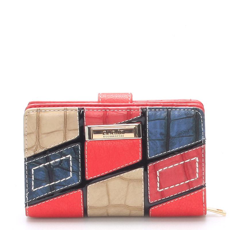 Originální větší dámská červená peněženka - Dudlin M257