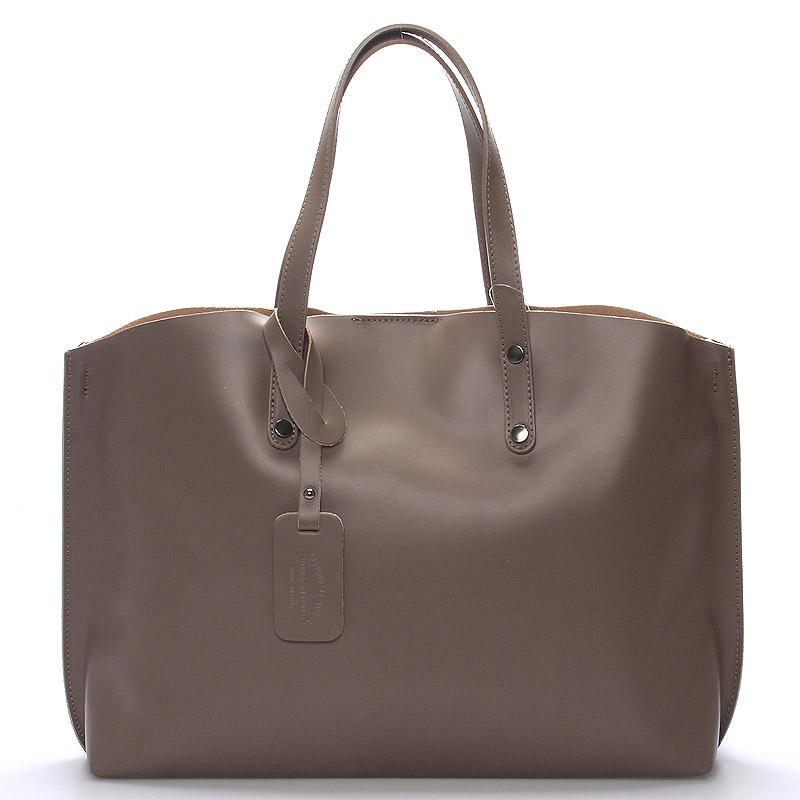 Dámská kožená kabelka taupe - ItalY Jordana