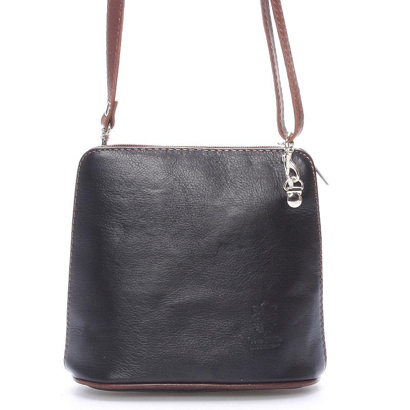 Černo-hnědá dámská kožená kabelka crossbody 10053