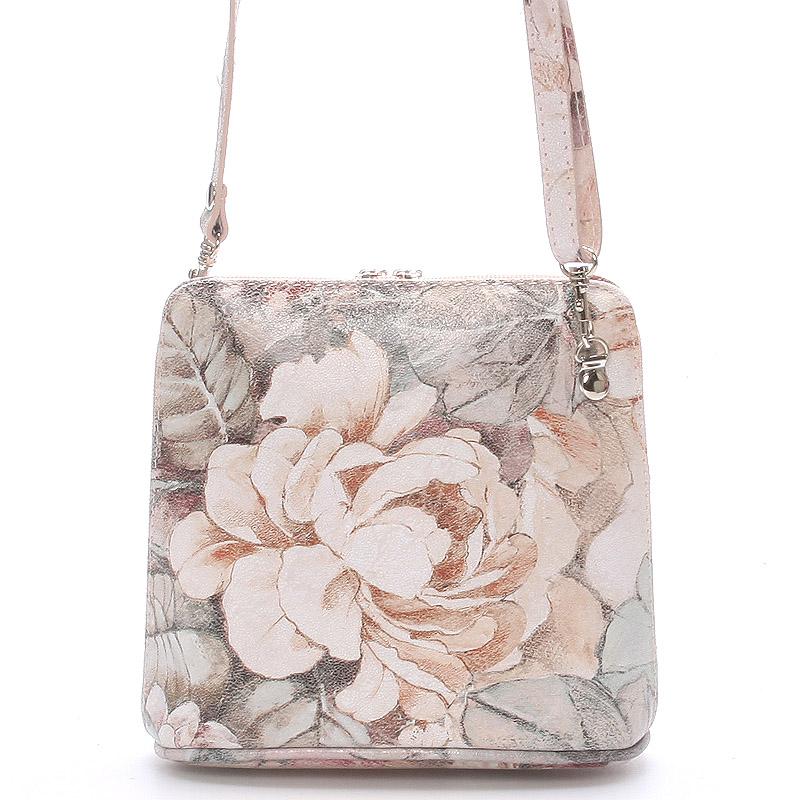 Květovaná dámská kožená kabelka crossbody 10053
