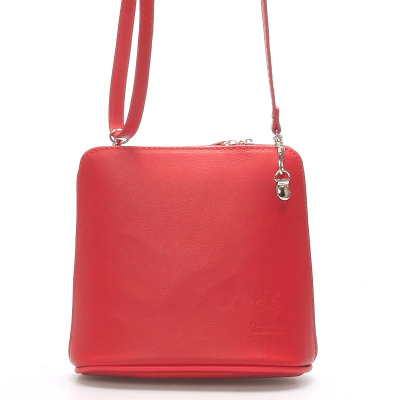 Dámská kabelka červená kožená crossbody 10053