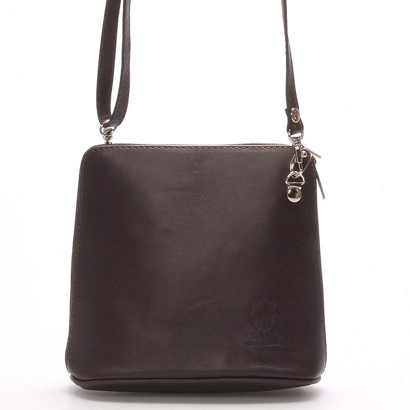 Tmavě-hnědá dámská kožená kabelka crossbody 10053