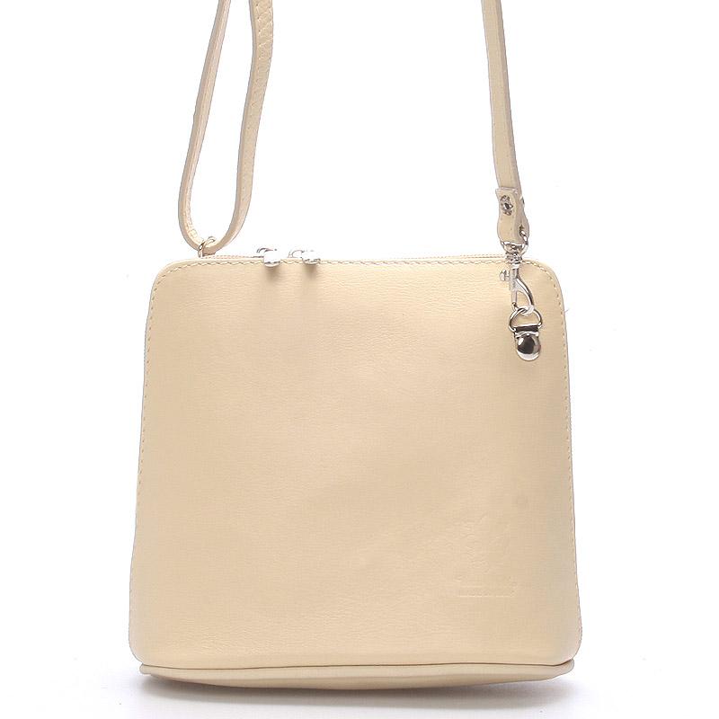 Krémová dámská kožená kabelka crossbody 10053