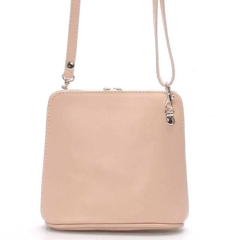 Růžová dámská kožená kabelka crossbody 10053