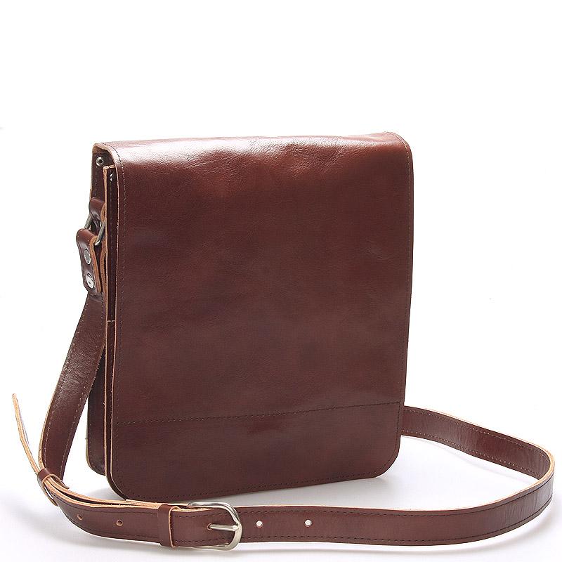 Hnědá luxusní kožená taška přes rameno Kabea Luxor-T