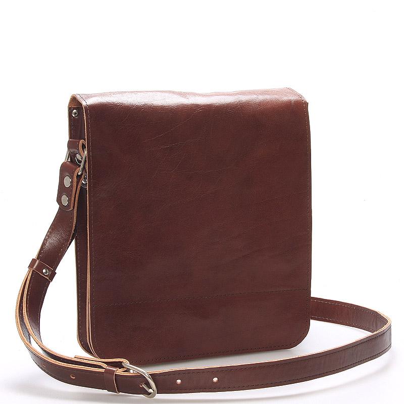 Hnědá luxusní kožená taška přes rameno Kabea Luxor
