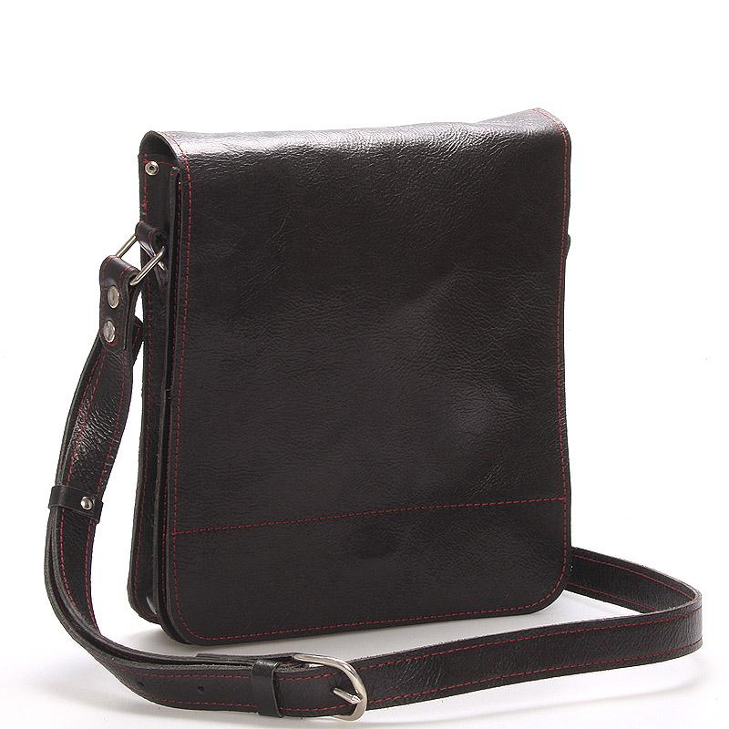 Černo-červená luxusní kožená taška přes rameno Kabea Luxor