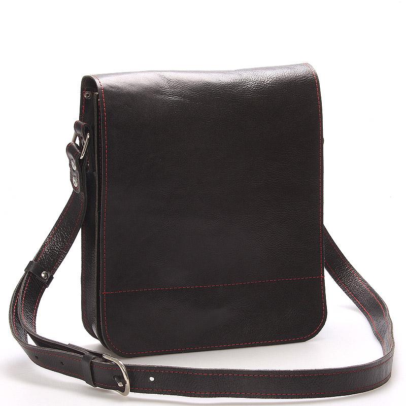 Černo-červená luxusní kožená taška přes rameno Kabea Luxor-T