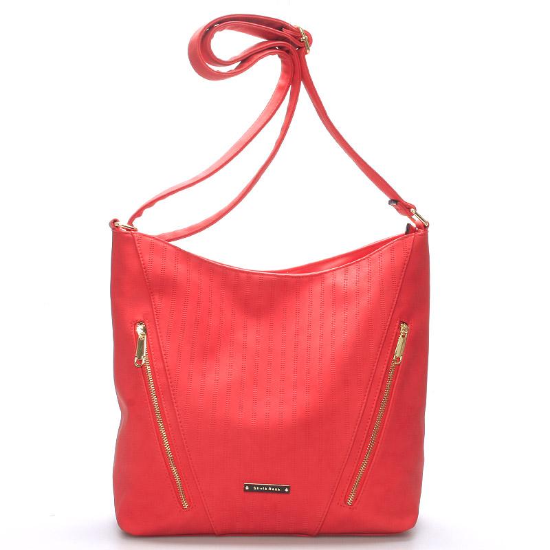 Elegantní dámská kabelka přes rameno červená - Silvia Rosa Adorlee