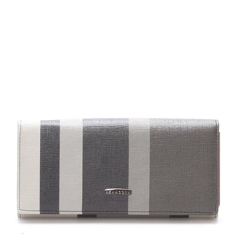 Luxusní prostorná černošedá peněženka - Hexagona Lips