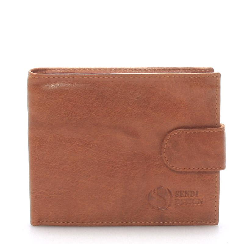 Praktická kožená světle hnědá peněženka - Sendi Design 47