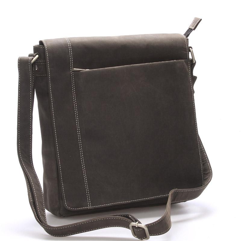 Moderní pánská středně velká kožená taška černá Stephan