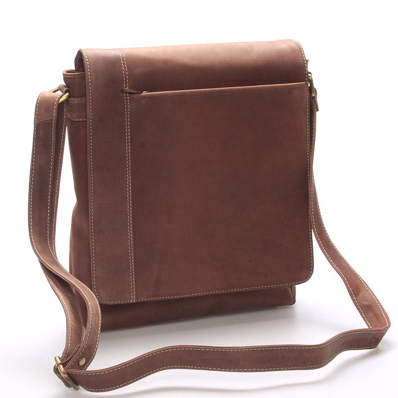 Moderní pánská středně velká kožená taška hnědá Stephan
