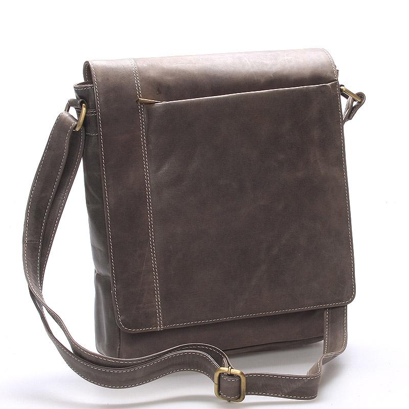 Moderní pánská středně velká kožená taška šedá Stephan