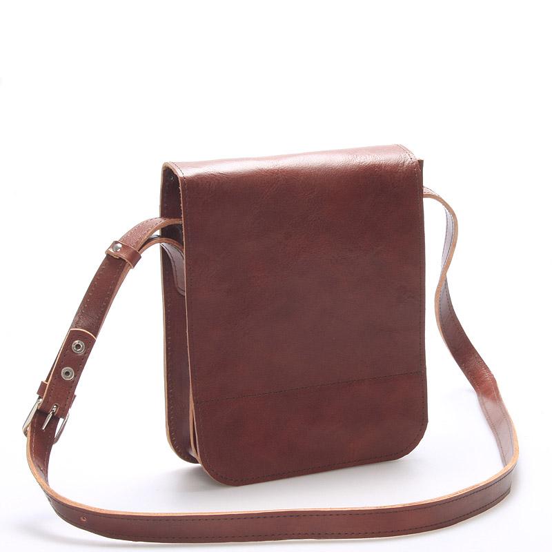 Hnědá luxusní kožená taška přes rameno Kabea ViLuxor