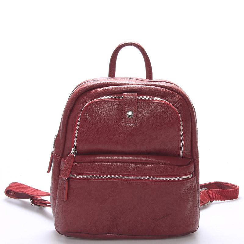 Jemný kožený dámský batůžek červený - Gerard Henon Comtessa