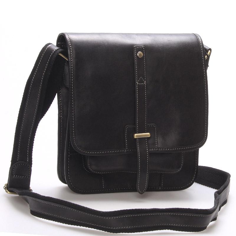 Pánská kožená taška přes rameno černá - Gerard Henon Brandon