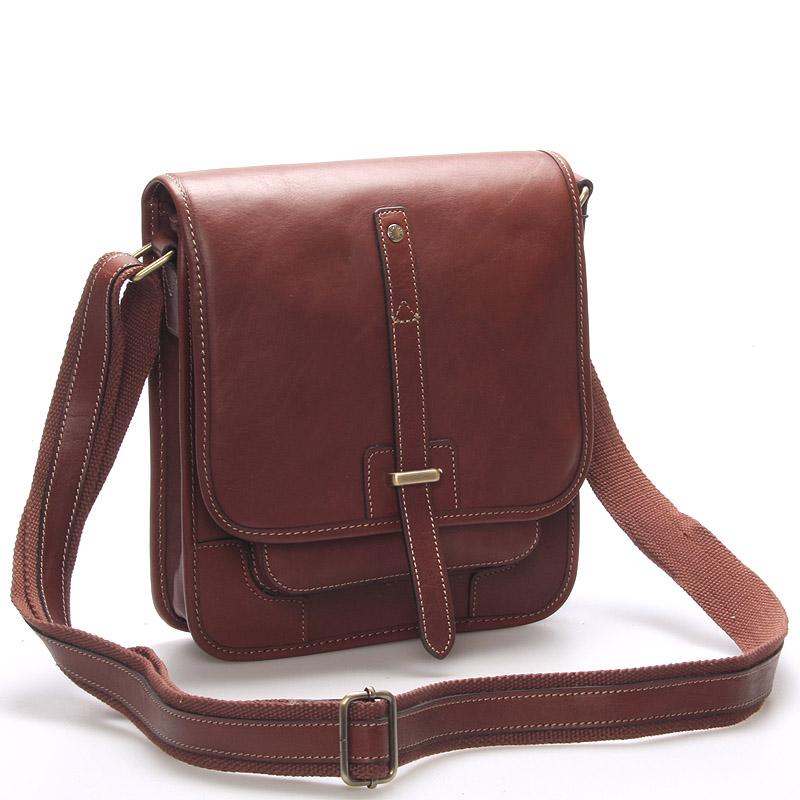 Pánská kožená taška přes rameno hnědá - Gerard Henon Brandon