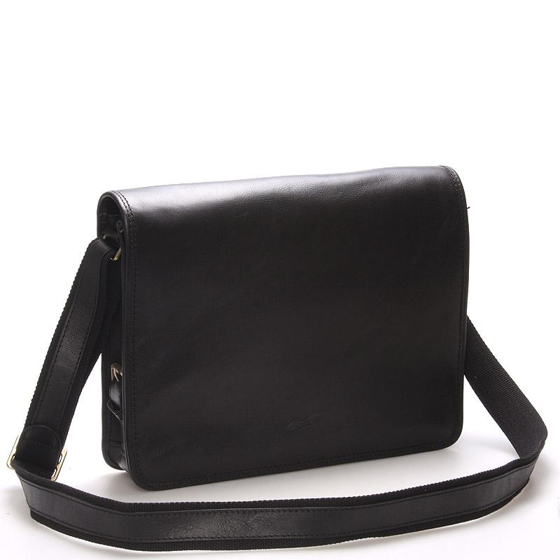 Luxusní pánská kožená taška přes rameno černá - Gerard Henon Harry