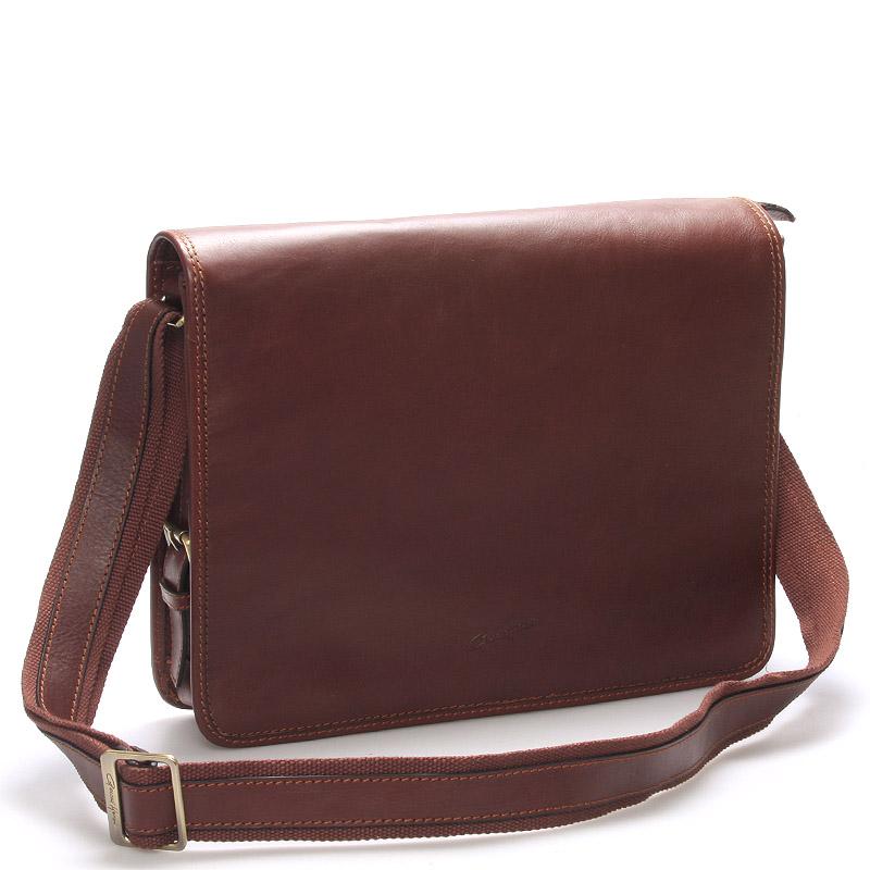 Luxusní pánská kožená taška přes rameno koňaková - Gerard Henon Harry