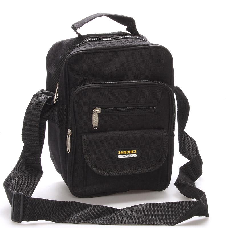 Pánská látková taška přes rameno černá - Sanchez Thomas