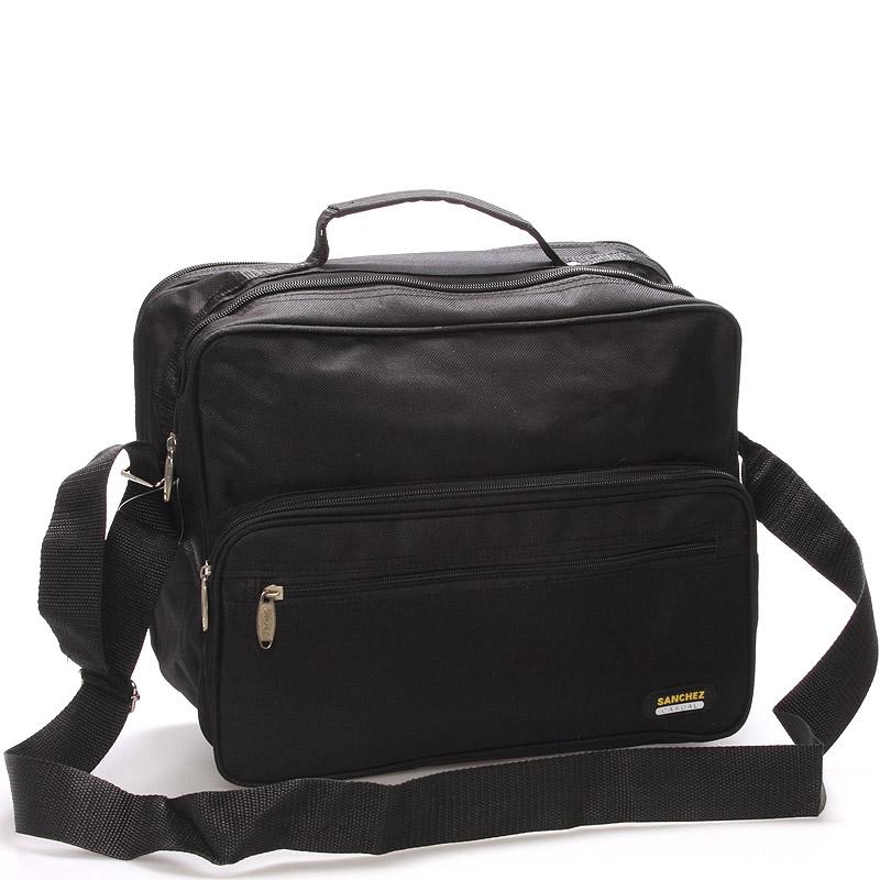 Pánská látková taška přes rameno černá - Sanchez Giulio