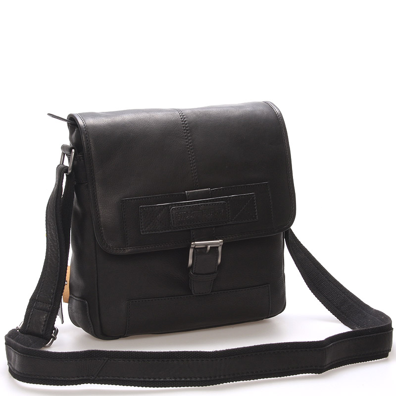 Luxusní kožený messenger černý - Hill Burry Ernst