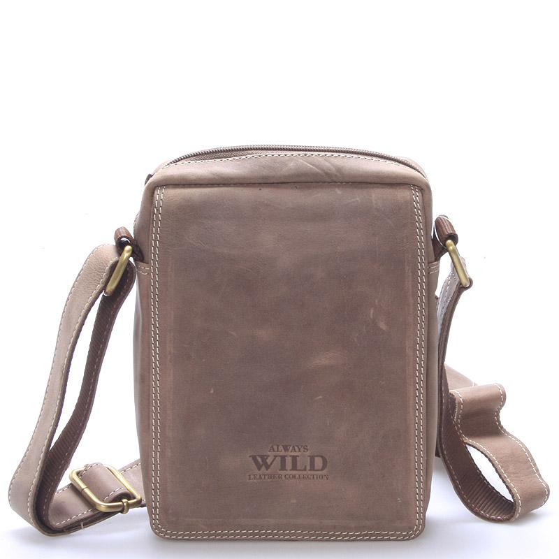 Pánská kožená taška na doklady světle hnědá - WILD Patric