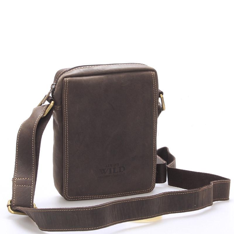 Pánská kožená taška na doklady tmavě hnědá - WILD Patric