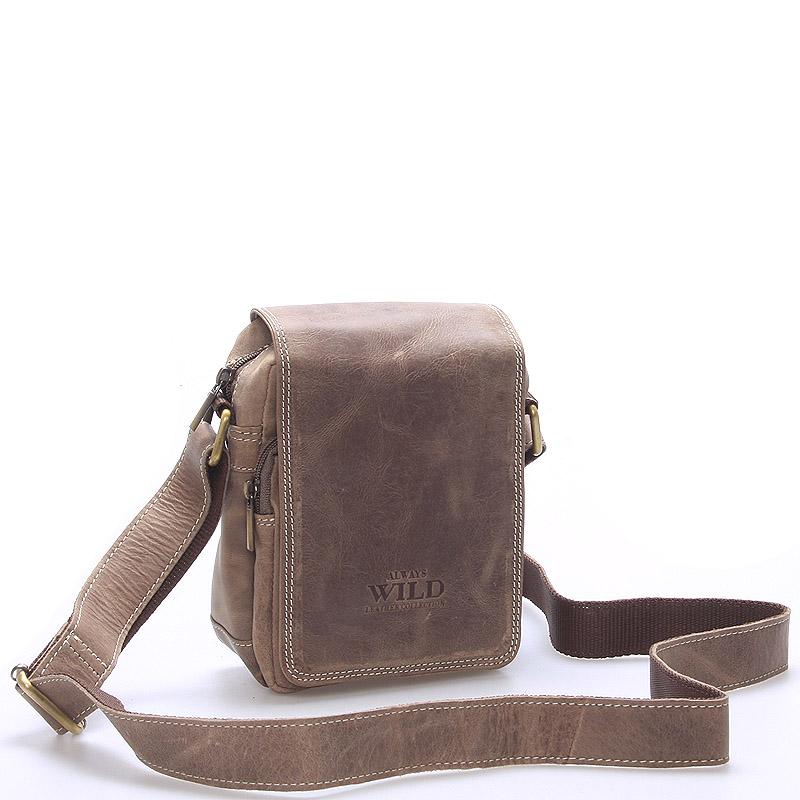 Malá pánská kožená taška světle hnědá - WILD Ethan