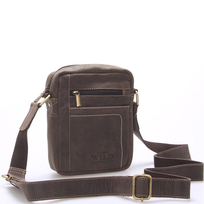 Pánská kožená taška přes rameno tmavě hnědá - WILD Mason