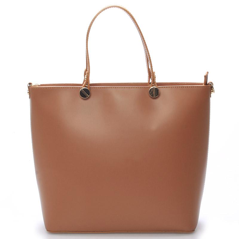 Dámská kožená kabelka hnědá - ItalY Elza