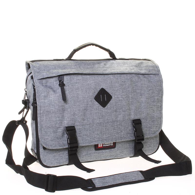 Látková pánská taška přes rameno světle šedá - Enrico Benetti 4548