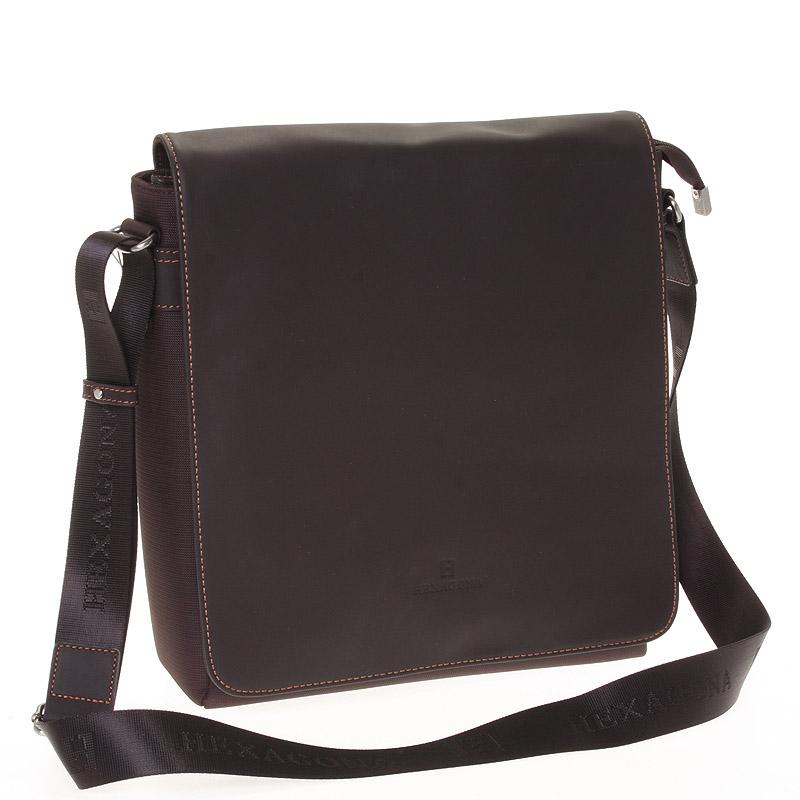 Luxusní pánská kožená taška hnědá - Hexagona 299163