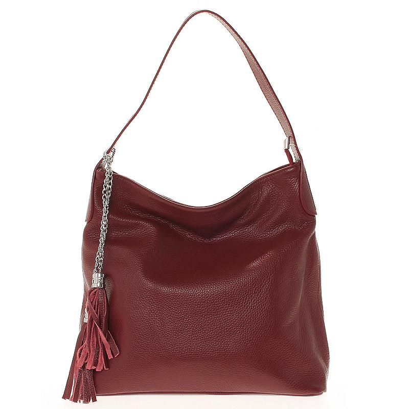Módní kožená kabelka přes rameno vínová - ItalY Georgine