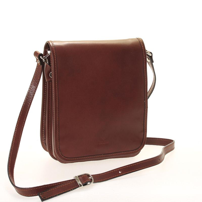 Luxusní hnědá kožená taška přes rameno ItalY Harper