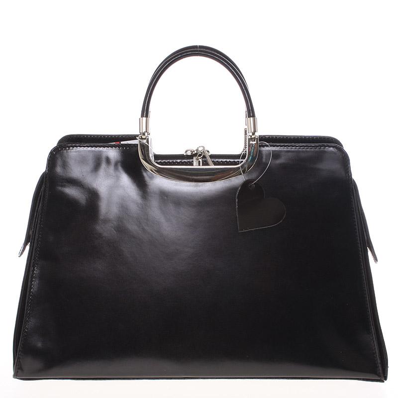 Dámská větší černá kožená společenská kabelka - ItalY Yanny