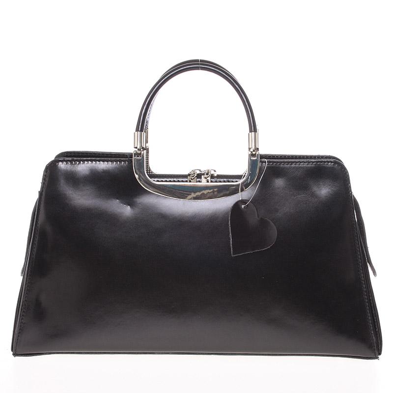 Dámská středně velká černá kožená společenská kabelka - ItalY Yalene
