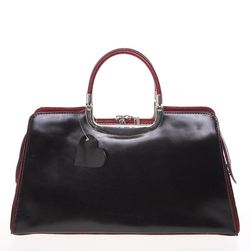 Dámská středně velká černo červená kožená společenská kabelka - ItalY Yalene