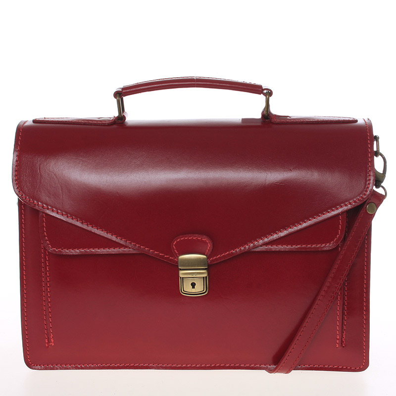 Luxusní červená kožená aktovka ItalY Kevin