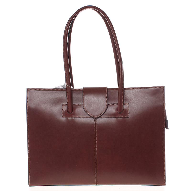 Velká elegantní dámská kožená kabelka hnědá - ItalY Zyphire