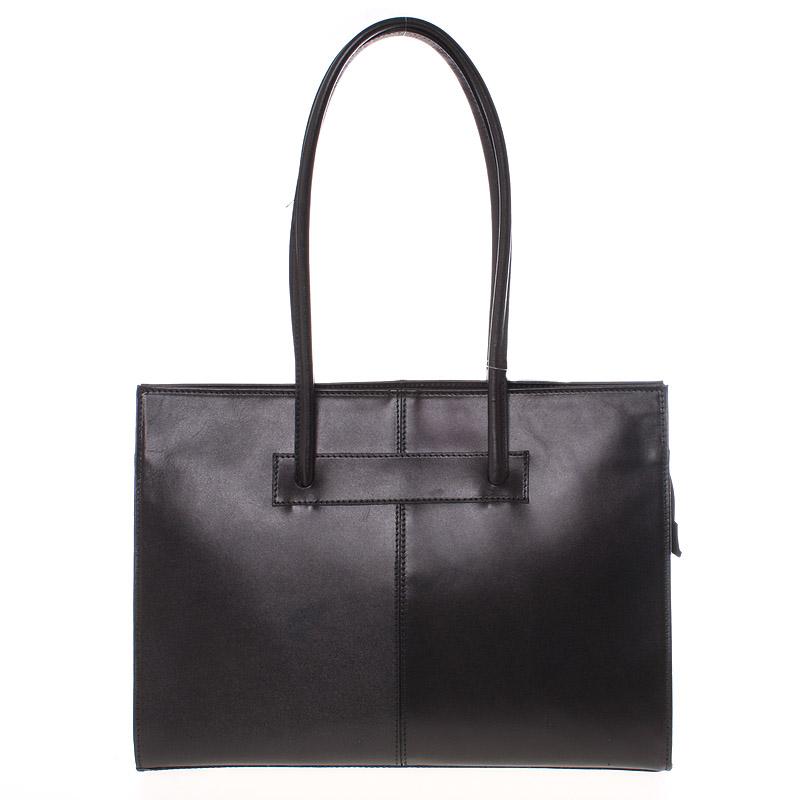 Velká elegantní dámská kožená kabelka černá - ItalY Hernana