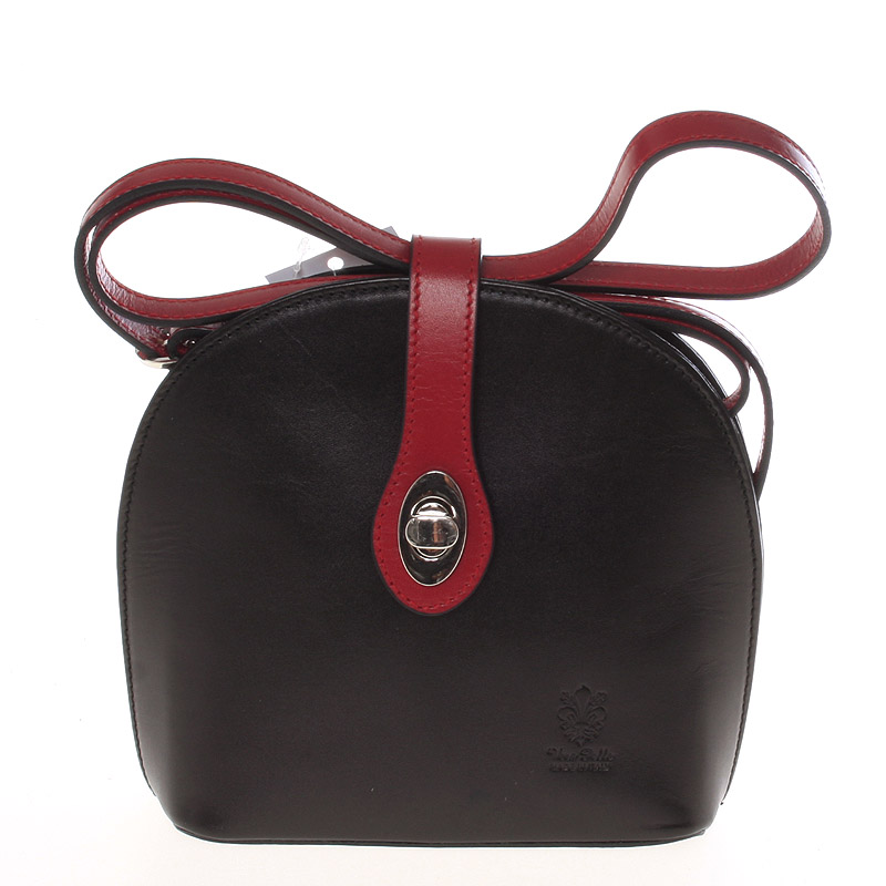 Malá dámská černo červená kožená crossbody kabelka - ItalY Zerena